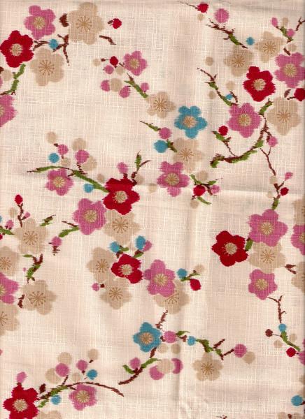 米白梅花印花布