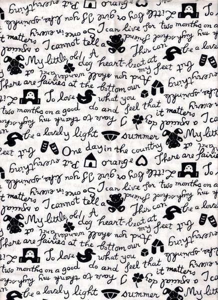 黑白文字塗鴉印花布