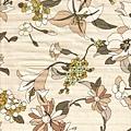米黃植物金線印花布