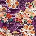 紫色和風花紋布