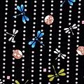 黑底蜻蜓扇子棉布