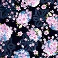 深藍櫻花球印花布