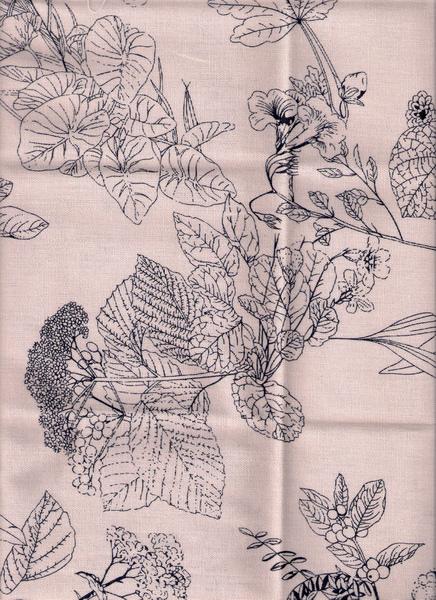 葉子米白棉布