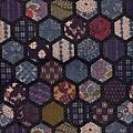 深藍六角格紋樣棉布