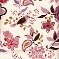 粉色水彩風格花鳥印花布