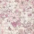 粉紅手繪風格印花布