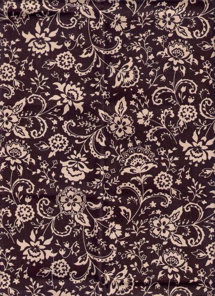 深褐色唐草花紋棉布