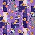 紫色方格梅花印花布