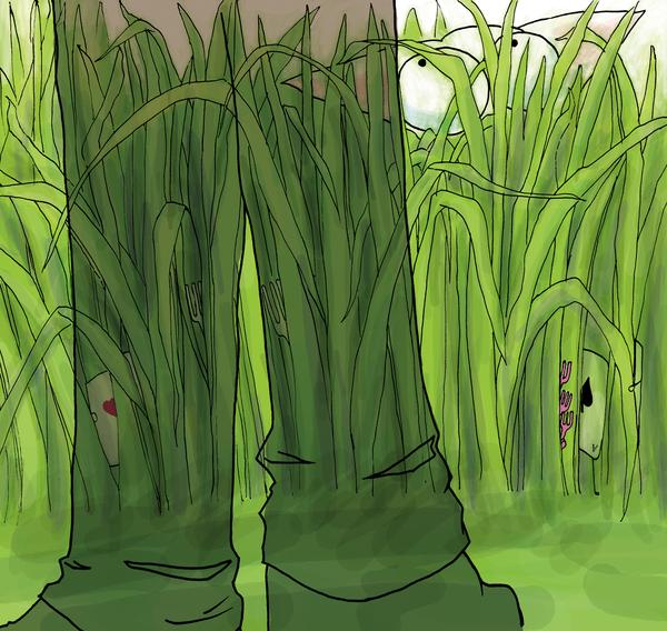 在草叢裡.....