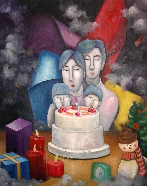 《聖誕‧生辰》,2003年,油彩、畫布,30F。