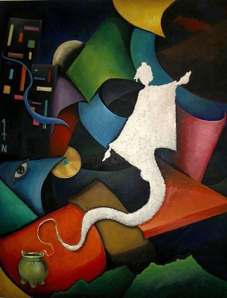 《岀鞘》,2002年,油彩、畫布,50F。