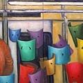 《捷運車廂一隅》,2003年,油彩、畫布,10F×2。