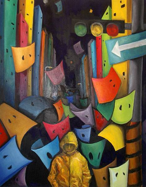《徘徊夜都市》,2003年,油彩、畫布,30F。