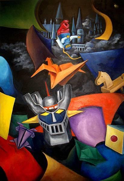 《天空の城》,2002年,油彩、畫布,50P。