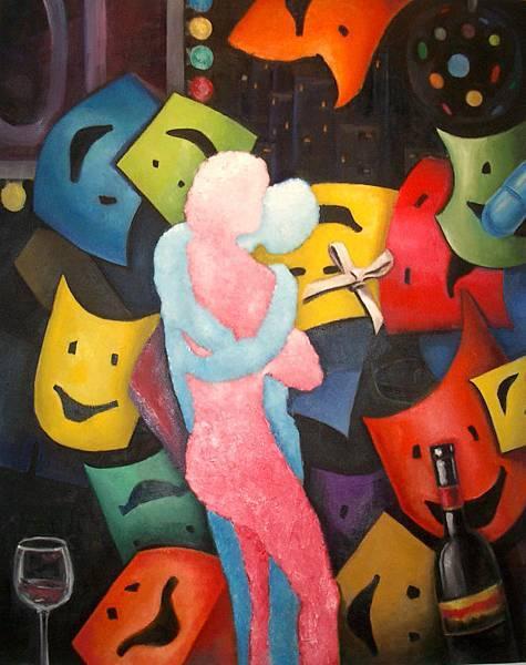 《霓虹燈的慰藉》,2003年,油彩、畫布,30F。