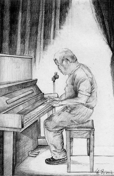 《琴音流瀉舞曼波》,2005年,鉛筆、紙。