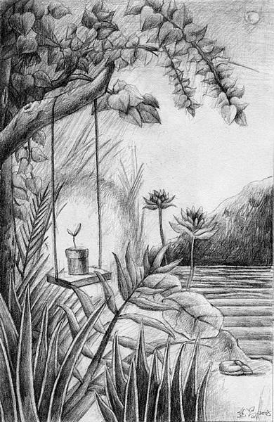 《風沐雨潤苗成林》,2005年,鉛筆、紙。