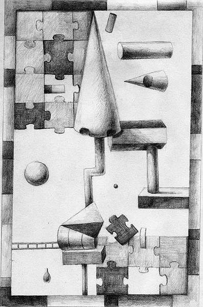 《師話拼圖》,2005年,鉛筆、紙。