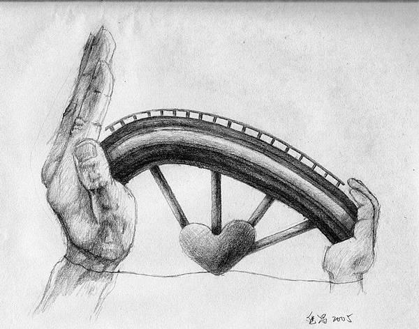 《師生同心橋》,2005年,鉛筆、紙。