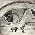 《農夫播下種子,期待豐收,上帝也不例外》,2005年,鉛筆、紙。