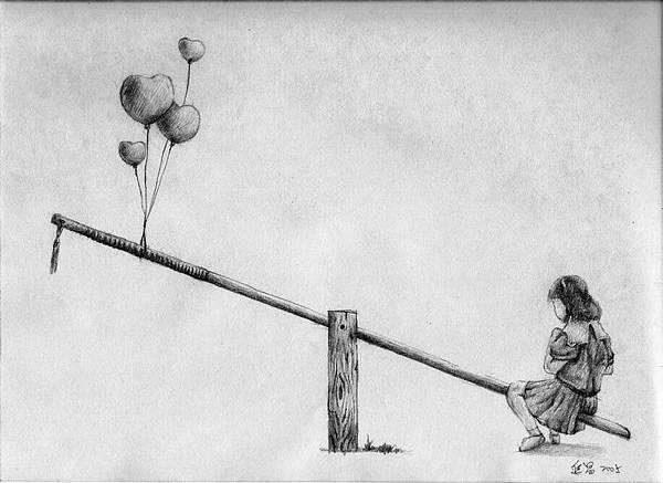 《教鞭的兩端是愛與管教,心中有愛,方能嚴而不苛》,2005年,鉛筆、紙。