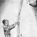 《酣飲教育的甘泉》,2005年,鉛筆、紙。