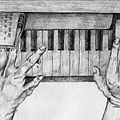 《彈奏》,2005年,鉛筆、紙。