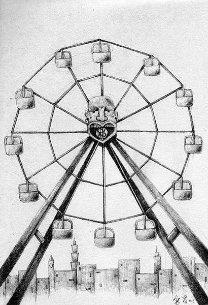 《摩天輪》,2005年,鉛筆、紙。