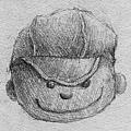 《娃娃頭》,2005年,鉛筆、紙。