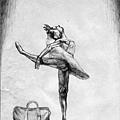 《拖著行李箱的舞者》,2005年,鉛筆、紙。