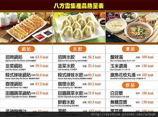 八方雲集_菜單Menu價目表目錄,熱量表,價格價位飲料單,網誌食記推薦