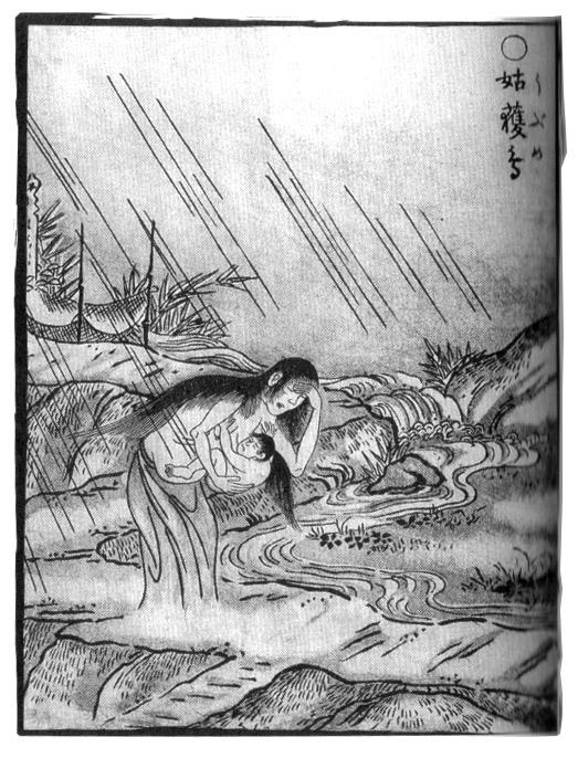 姑獲鳥(鳥山石燕「畫圖百鬼夜行」)