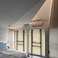 以折紙概念規劃出主臥天花板、讓間接光源可更自然折射出營造溫柔的光線。