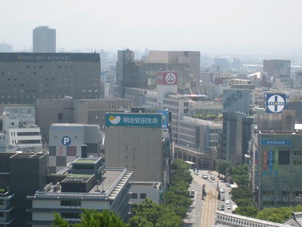 天守閣上俯瞰熊本市