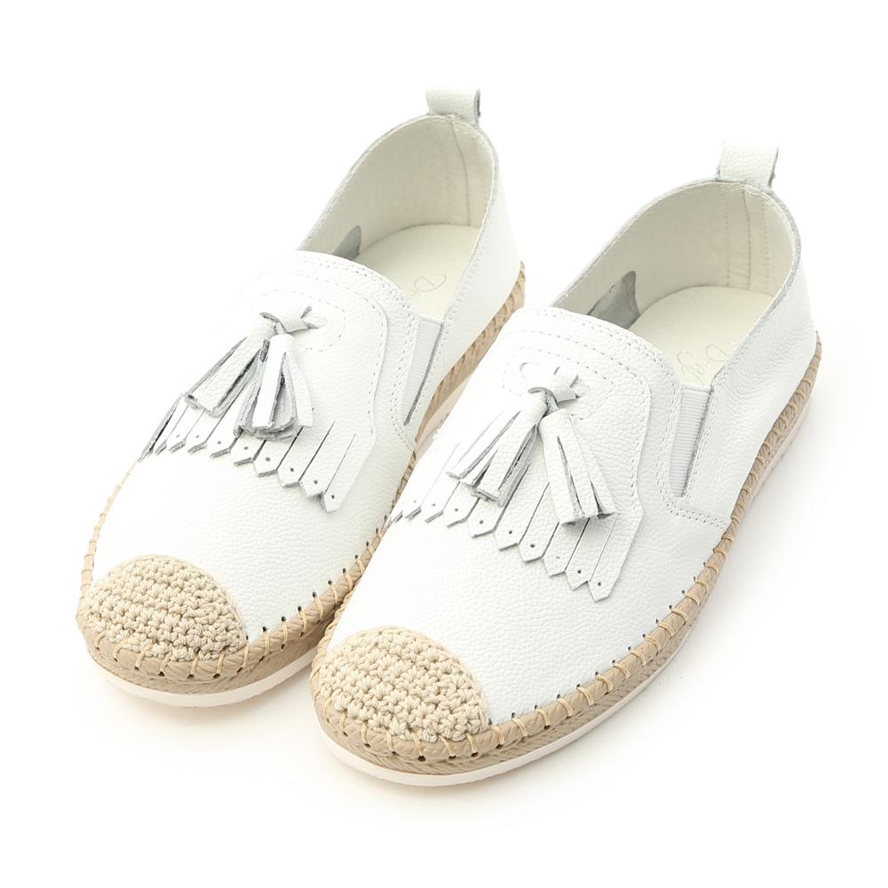 真皮草編風流蘇小白鞋
