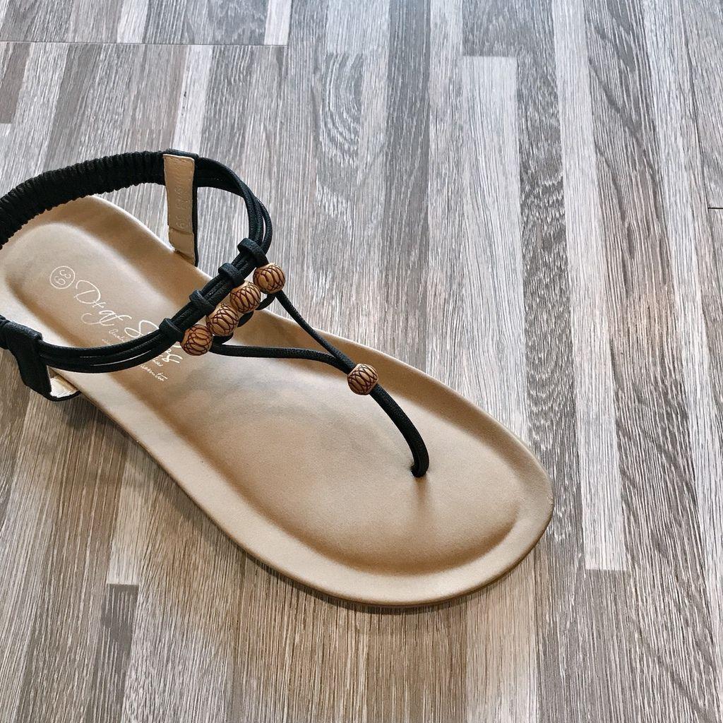 民族風木珠平底夾腳涼鞋