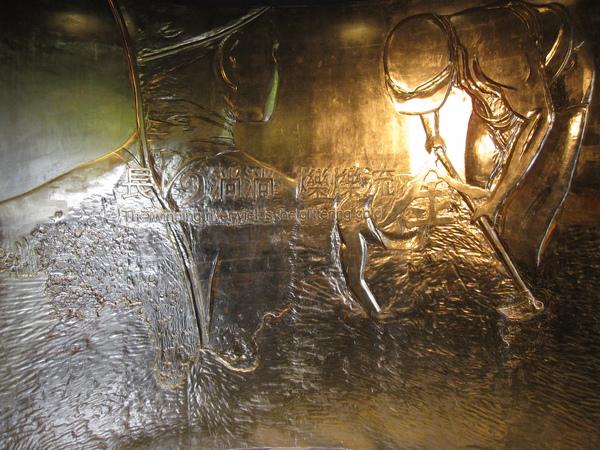 黃金博物館門口的金箔牆