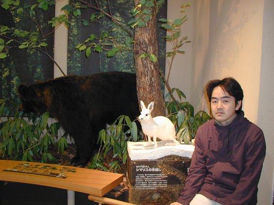 和標本熊標本兔合照