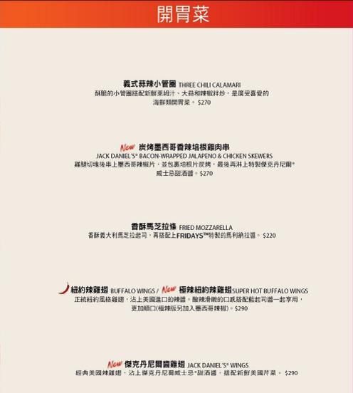 TGI Fridays 雞翅菜單.JPG