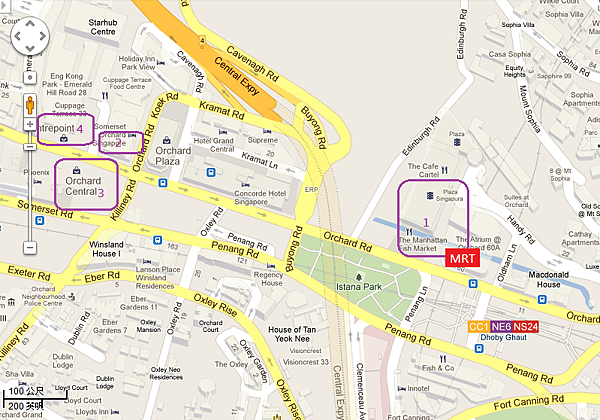 Orchard Road Shopping Map - Dhoby Ghaut