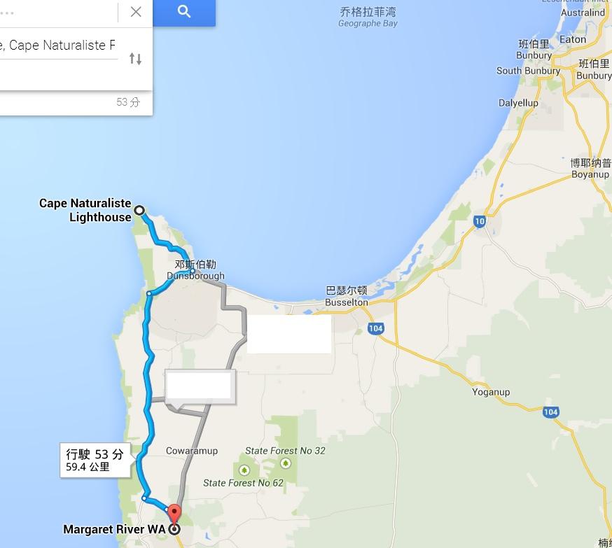 Margaret River map