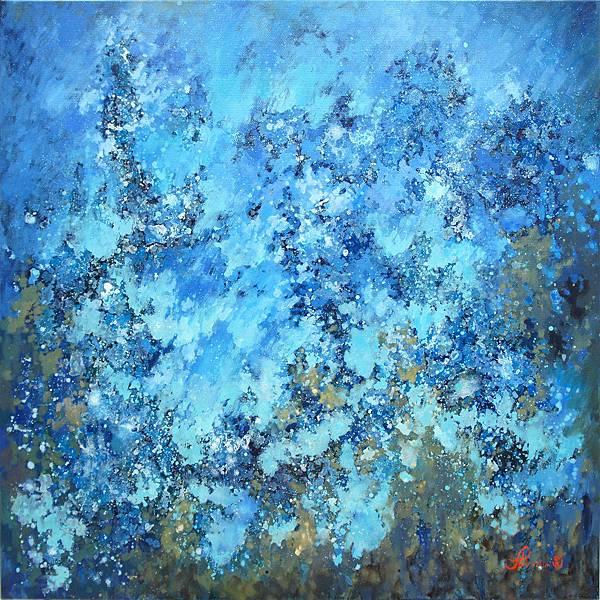 藍眼淚 50S (100x100cm) 油畫,2017年 藝術家:林淑婷