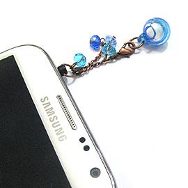 迷你琉璃香氛球手機耳機防塵塞~水藍(兩用可改成項鍊)