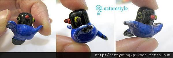 台灣藍鵲手工琉璃珠