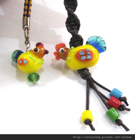 五彩公雞琉璃珠吊飾