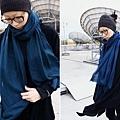 藍色鑽石織紋喀什米爾純羊毛圍巾