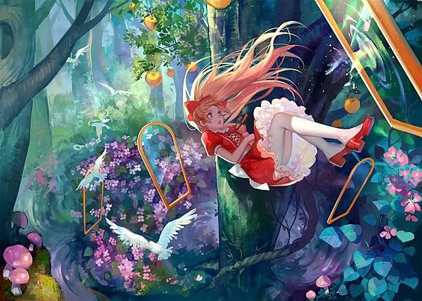 森林-高雅-金发碧眼女孩旅行