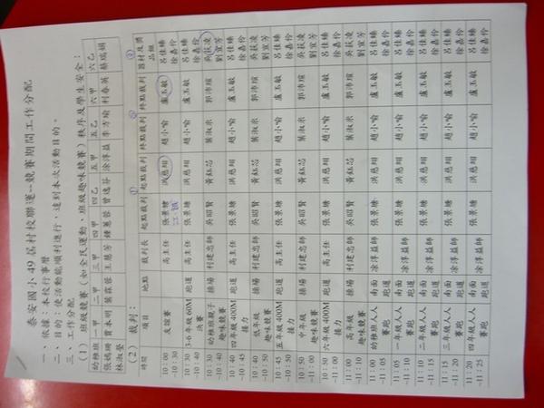 工作分配表