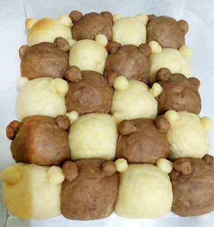雙色泰迪熊鮮奶油餐包6