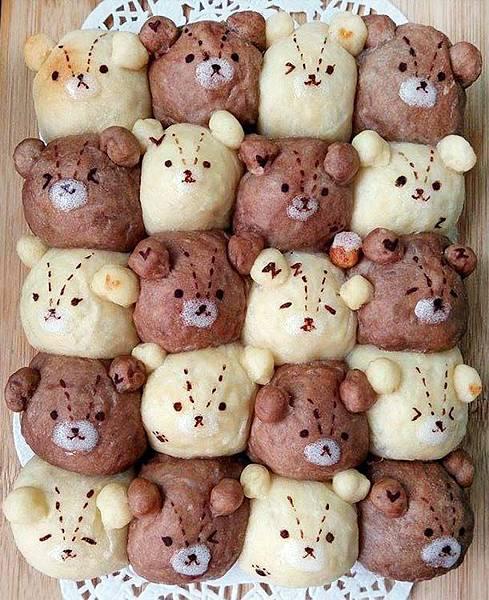 雙色泰迪熊鮮奶油餐包[2]